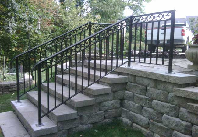 Railings iron aluminum vinyl pvc all4fencing - Wrought iron handrails for exterior stairs ...