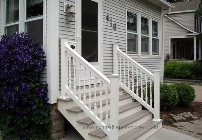 Railings iron aluminum vinyl pvc all4fencing for Front porch kits for sale