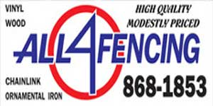 All4Fencing logo and yard banner